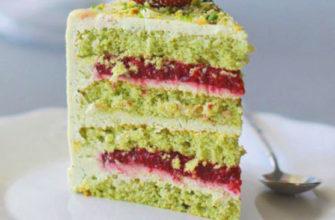 Торт фисташка-малина/ простой рецепт торта в домашних условиях/ крем, малиновое конфи и сборка торта