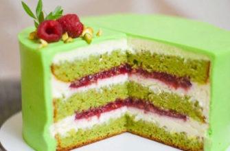 Диетический торт малина фисташка